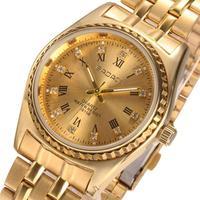 Brand BADACE Classic Women Men Fashion Jewelry Rhinestone Roman Numerals Scale Couple Watch - Golden Dial