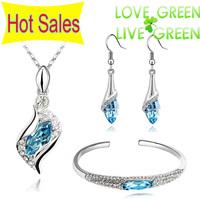 2014 hotselling Brand 18K White Gold Plated Austrian Crystal Eyes Pendant Necklace Earrings Bracelet bangle Jewelry Sets 523