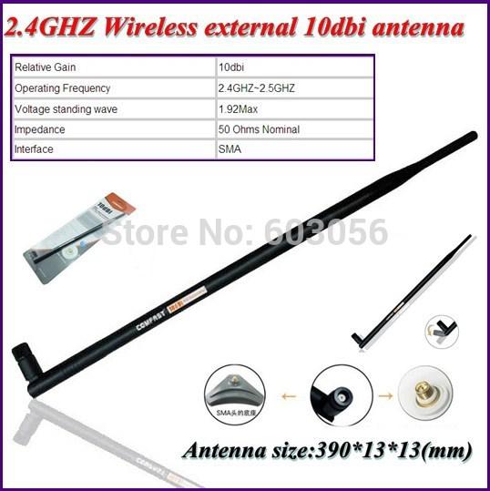 10pcs SMA Interface Wireless 2.4GHZ external 10dbi antenna 50 Ohms Nominal Impedance support IEEE 802.11b/g/a/n(China (Mainland))
