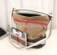 Luxury genuine leather bags british style b canvas plaid new authentic feminina vintage shoulder hobo bolsas