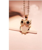 Free Shipping 2014 New Fashion Vintage Retro Shell Owl Drill Collarbone Chain Necklace 2N019
