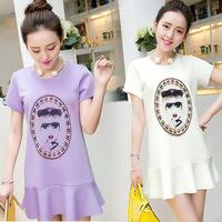 Women dress summer 2014 Korean style brand short-sleeved chiffon dress fashion cartoon printed sweet girl dress & base dress M-L