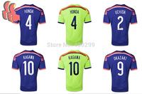 Free Shipping Top Thai Japan 2014 Soccer Jersey Japan Home Away HONDA KAGAWA Football Uniforms Kit  Player Version Futbol Shirts