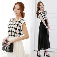 2014 summer casual dress brand O-neck plaid stitching chiffon beach dress fashion white & black bohemian long dress Free size