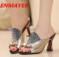 ENMAYER fashion rhinestone leather high heels shoes women sandals bow sandals for women summer shoes wedding Slides