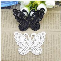 30pcs/lot sewing lace patch butterfly Mesh alliqued women dress garment apparel accessories guipure  diy Patches 5.5cm*7cm