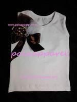 Baby Girl petti top WHITE cotton T shirt chiffon flower mint