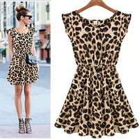 New 2014 Hot Sale 1PC Women Leopard Animal Print Pleated Milk Silk Dress Celebrity Style Free Shipping & Wholesales