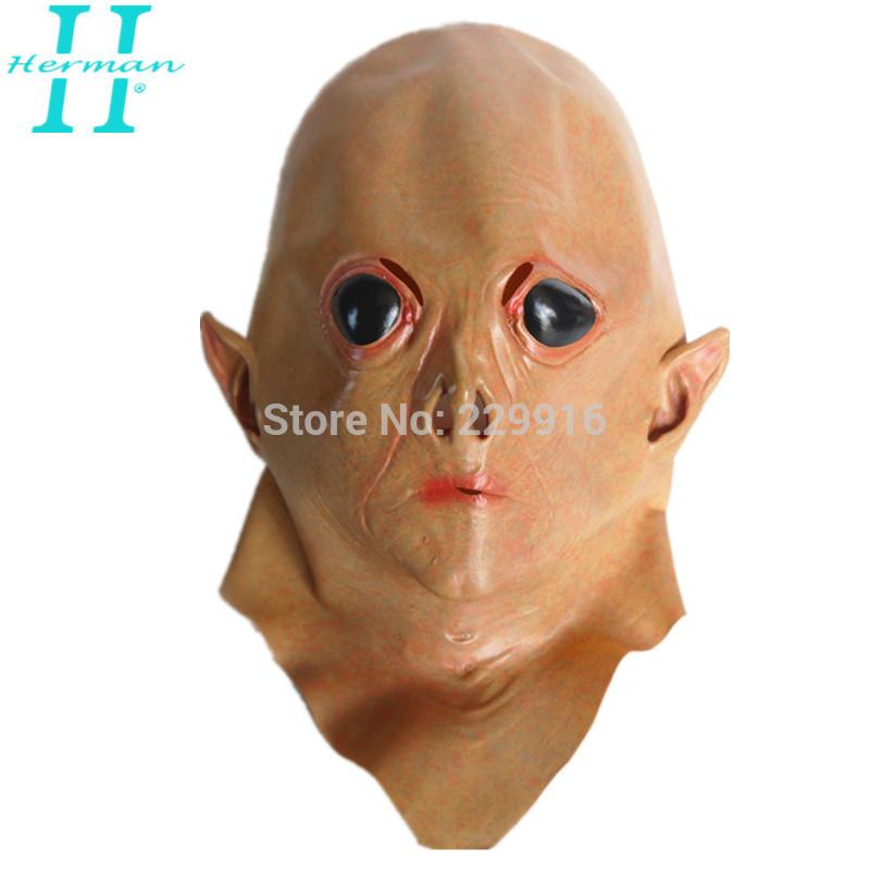 Realistische ufo alien hoofd masker latex griezelige cosplay kostuum