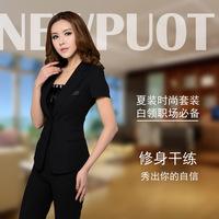 new 2014 women's summer work wear short sleeve blazer set slim fashion women skirt suit fashion women clothes @