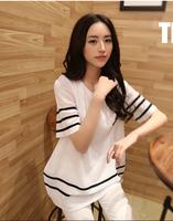 2014 New Fashion White Summer Plus size Loose Basic Female Short-sleeve T-shirts