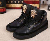 Fashion 100% genuine leather Men shoes Brand Elastic Band Classic Medusa high top sneakers shoes 39-45Free Shipping