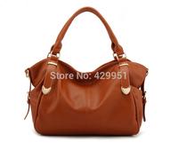 2014 Dress Lady Solid Zipper Brown Messeger bag Soft Totes Handbag