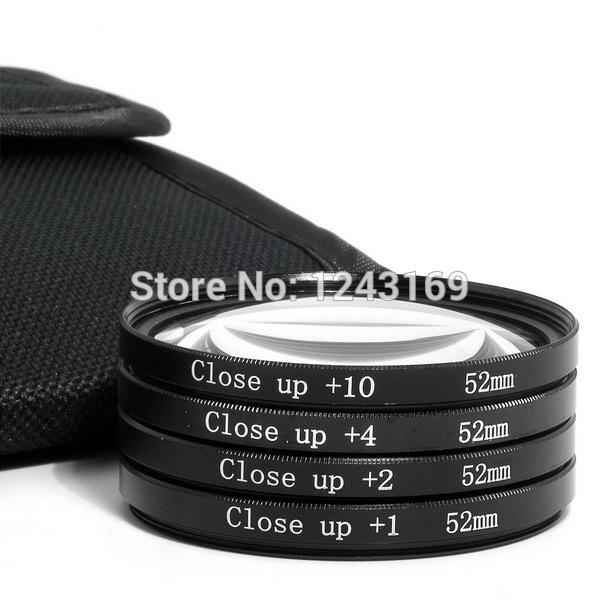 4pcs 52mm Macro Close-Up +1+2+4+10 Lens Filter Kit With Bag for Nikon D70S D60 D40 LF57-SZ(China (Mainland))