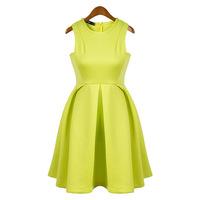 Free shipping  Fashion sleeveless neon yellow green candy color pleated elegant one-piece dress sleeveless o-neck tank dress