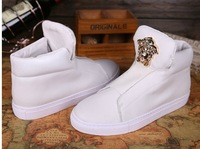 Free shipping BL Arena2014 Newest Brand men sneakers white geuine leather medusa celeb style High-top trainer shoes 39-45