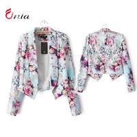 Free shipping new 2014 spring autumn cotton printing Slim pastoral personality temperament short suit of women blazer # 6517