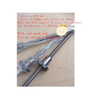 Anti Backlash Ballscrew SFU1605 1605 L850mm+L550mm+300mm+ 3 pcs SFU1605 single ballnut BK12 and BF12 support  Nut Housing