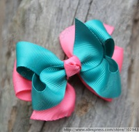 Free shipping 150pcs/lot 3.5'' ,2 Layered Bow Little Girls Toddler hair accessory in Pink and Blue, Stacked Hair Bow 4040