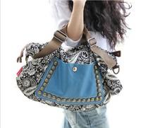 2014 time-limited freeshipping zipper bolsa women leather handbags new handbags wind retro portable shoulder bag canvas diagonal