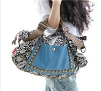 New handbags national wind retro portable shoulder bag canvas bag diagonal rivet BAG
