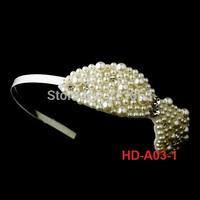 New Cheap Elegant Bridal Hairband Pearl Rhinestone Bow design wedding accessory
