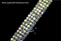 free shipment 4 row crystal  silver AB rhinestone trims close chain x1 yard
