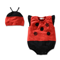 Brand ladybird baby romper short sleeve 100% cotton ladybug infants bodysuits wear jumpsuits for free shipping
