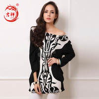 2014 new Winter women dress Retro cashmere lace dress Printed casual diamond drilling hot sexy blue and white sequined dress