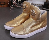 Fashion New 2014 Men Sneakers Band Classic Slip On Gold Metal Medusa high top sneakers shoes 39-46Free Shipping