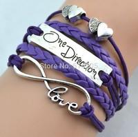Wholesales 2014 New bracelets for men Retro ID Leather Charm bracelets Justin Biber One direction