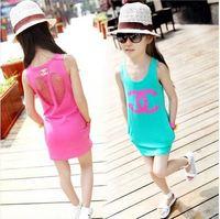 Hu sunshine Retail new 2014 summer girls kids hollow vest dress