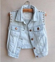 Free shipping CUTE Waistcoat Casual Turn-down Collar Rivet Sleeveless Light Blue Denim Vest Jacket Jeans Women Coat