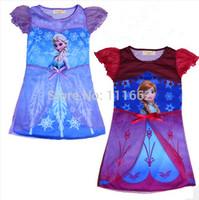 Free shipping FROZEN Elsa Anna girl girls short sleeve dress dresses nightgown sleepwear nightie