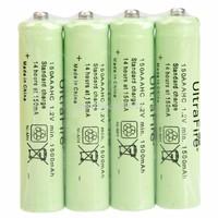 Free Shipping 4Pcs/Set UltraFire AAA 1.2V 1500mAh Ni-MH Rechargeable Battery , Green Batteries