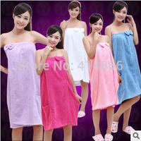 Free Shipping Colors select 80*120cm 280g/pcs Microfiber lady cloth towel fabric bathrobe baths towel elastic bow knot bathroom