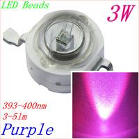 Freeshipping 50pcs 3W LED Beads Purple color TC 393-400nm chip 45x45mil 350mA high power bead lighting diode DIY led RGB Lamp