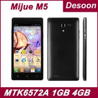 "Original Mijue M5 4.7"" 1GB RAM 4GB ROM MTK6572A Dual core 1.3GHz Android 4.2.2 GPS 5.0MP Camera Black White in stock/Koccis"