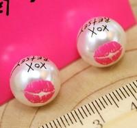 South Korea's new fashionable sweet lips big pearl earrings Lovely letter stud earring