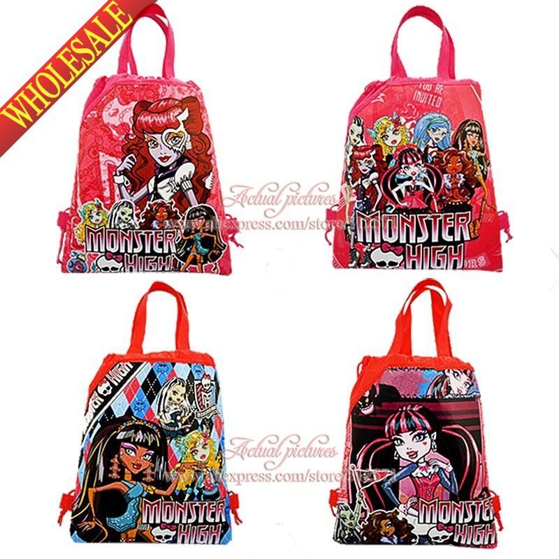 2014 nuovo arrivo, misto 4 stili, 12 pezzi Monster High scuola non- tessuti scuola del fumetto borse zaino coulisse, partito regalo