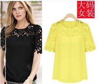 Women Blouse New Camisa Floral Blusas Feminine 2014 Hollow Out Lace Blouses Income Elegant Sexy Top Plus Size Casual Shirt RR320