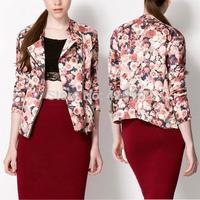 Trend Women Lapel Digital Floral Print Zip Motorcycle Jacket Coats Cardigan Top