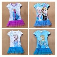 New 2014 Baby Girls Frozen Dress summer Elsa Ana Frozen Princess Casual Dress Cartoon Print baby Girls  baby Dress  Baby & Kids