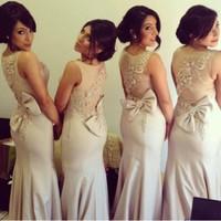 Elegant Latest Style Cap Sleeve Bridesmaid Dresses Scalloped vestido de festa Beading Chiffon Mermaid Wedding Party Dresses 2014