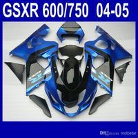 Wholesale - 7 gifts fairings body kit for SUZUKI GSXR 600 750 K4 2004 2005 GSXR600 GSXR750 04 05 R600 R750 glossy dark blue blac
