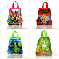 1pcs School Backpack  Non-woven Material Child Cartoon Drawstring Backpack Bag Children party gifts<Tinker Bell & Peter Pan
