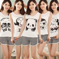 Summer short-sleeve sleepwear female 100% cotton casual set lounge lovers sleepwear