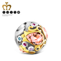 T400 Mother's day gifts setting Tulip flower bead made with Swarovski Elements and 925 sterling silver# Q193,free shipping