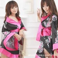 Hot sexy games uniform temptation bust open lingerie nightdress set womens Japanese Kimono Intimate Sleepwear Robe #SK14013