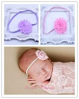 Shabby Flower Headband 10 COLORS, YOU PICK - Shabby Chic Headbands  Skinny Elastic Baby Headbands Adult Headbands 10pcs/lot